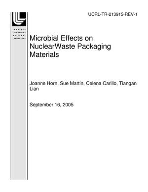 Primary view of object titled 'Microbial Effects on NuclearWaste Packaging Materials'.