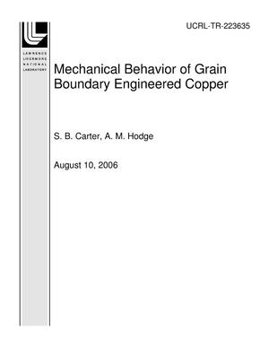 Primary view of object titled 'Mechanical Behavior of Grain Boundary Engineered Copper'.
