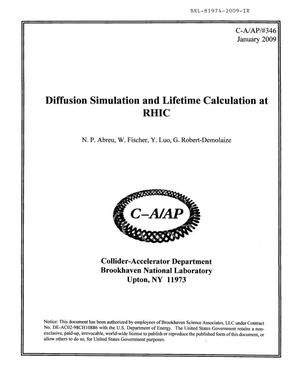 Primary view of object titled 'Diffusion Simulation and Lifetime Calculation at RHIC'.