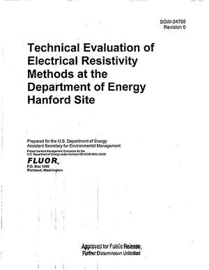 Primary view of object titled 'TECHNICAL EVALUATION OF ELECTRICAL RESISTIVITY METHODS AT THE DEPARTMENT OF ENERGY HANFORD SITE'.