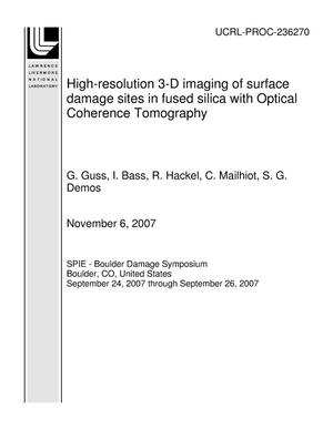 Primary view of object titled 'High-resolution 3-D imaging of surface damage sites in fused silica with Optical Coherence Tomography'.