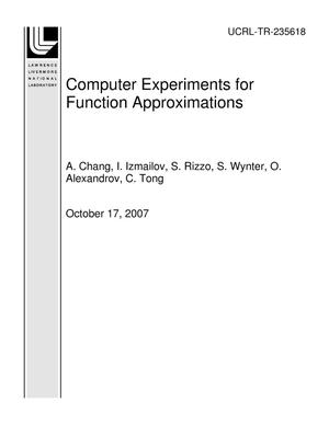 Primary view of object titled 'Computer Experiments for Function Approximations'.