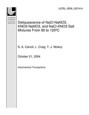Primary view of object titled 'Deliquescence of NaCl-NaNO3, KNO3-NaNO3, and NaCl-KNO3 Salt Mixtures From 90 to 120?C'.