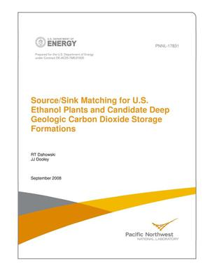 Primary view of object titled 'Source/Sink Matching for U.S. Ethanol Plants and Candidate Deep Geologic Carbon Dioxide Storage Formations'.