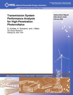 Primary view of object titled 'Transmission System Performance Analysis for High-Penetration Photovoltaics'.