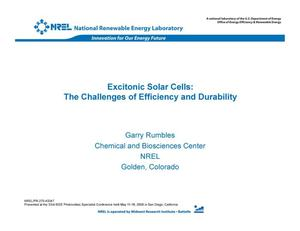 Primary view of object titled 'Excitonic Solar Cells: The Challenges of Efficiency and Durability (Presentation)'.