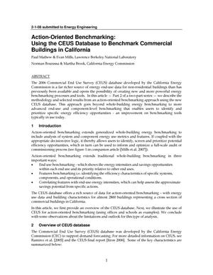 Primary view of object titled 'Action-Oriented Benchmarking: Using the CEUS Database to Benchmark Commercial Buildings in California'.