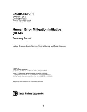 Primary view of object titled 'Human error mitigation initiative (HEMI) : summary report.'.