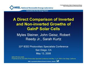 Primary view of object titled 'Direct Comparison of Inverted and Non-inverted Growths of GaInP Solar Cells (Presentation)'.