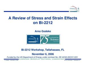 Primary view of object titled 'A Review of Stress and Strain Effects on Bi-2212'.