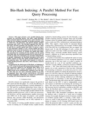 Primary view of object titled 'Bin-Hash Indexing: A Parallel Method for Fast Query Processing'.