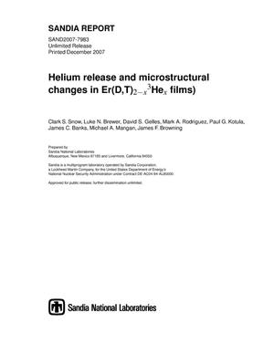 Primary view of object titled 'Helium release and microstructural changes in Er(D,T)2-x3Hex films).'.