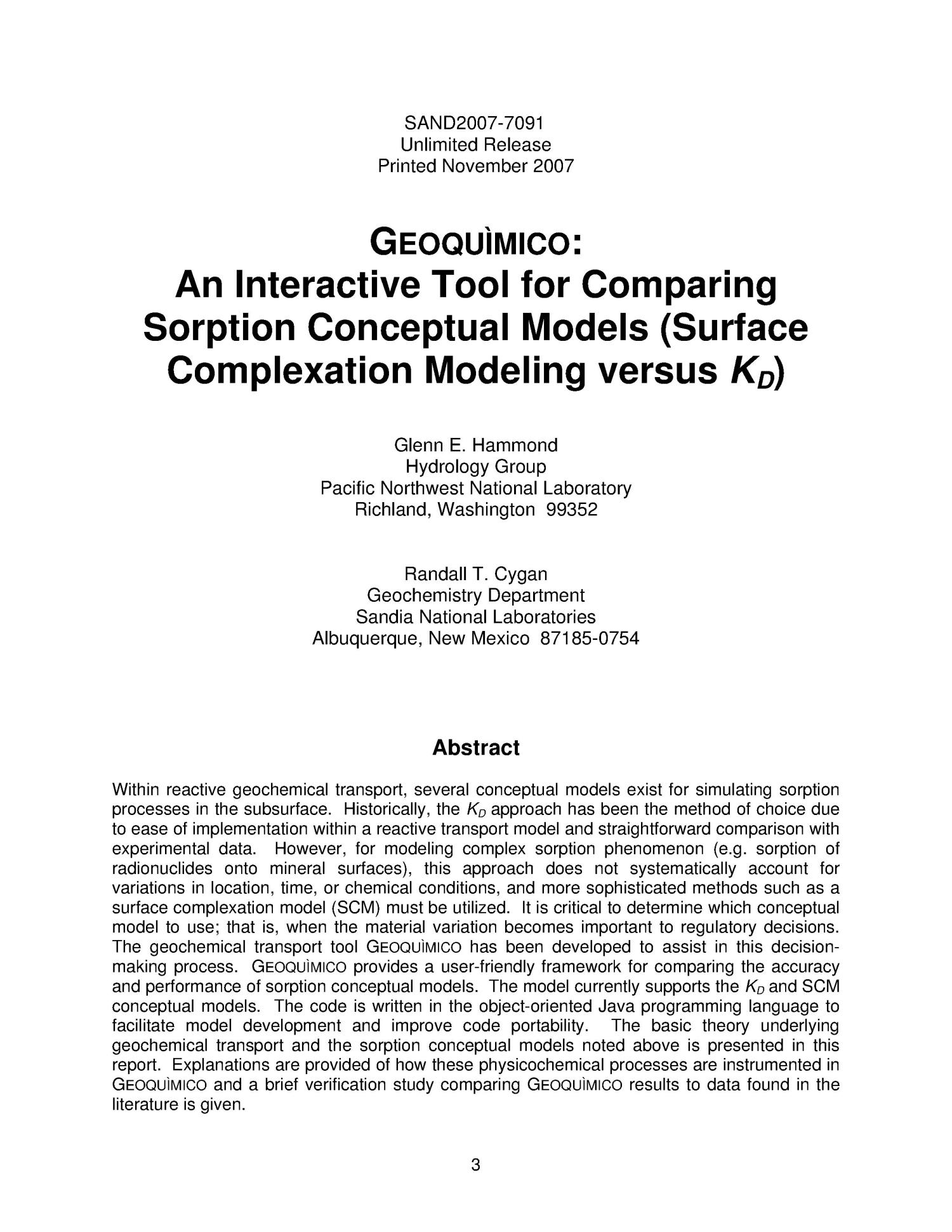 GEOQUÌMICO : an interactive tool for comparing sorption conceptual models (surface complexation modeling verus K[D]).                                                                                                      [Sequence #]: 3 of 26