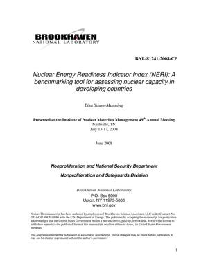 Primary view of object titled 'Nuclear Energy Readiness Indicator Index (NERI): A benchmarking tool for assessing nuclear capacity in developing countries'.