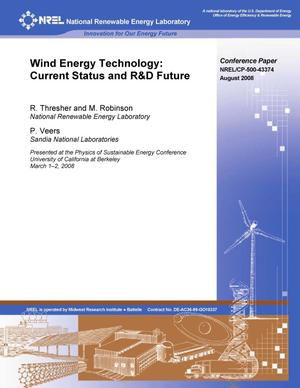 Primary view of object titled 'Wind Energy Technology: Current Status and R&D Future'.
