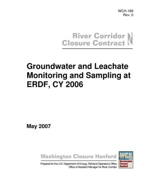 Primary view of object titled 'Groundwater and Leachate Monitoring and Sampling at ERDF, CY 2006'.