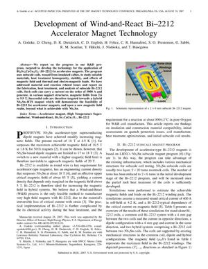 Primary view of object titled 'Development of Wind-and-React Bi-2212 Accelerator MagnetTechnology'.