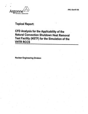 Primary view of object titled 'CFD analysis for the applicability of the natural convection shutdown heat removal test facility (NSTF) for the simulation of the VHTR RCCS. Topical report.'.