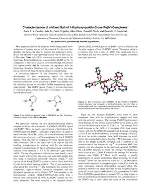 Primary view of object titled 'Characterization of a mixed salt of 1-hydroxy-pyridin-2-one Pu(IV)complexes'.