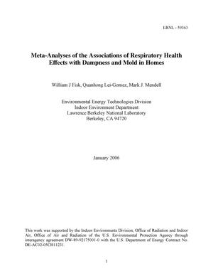 Primary view of object titled 'Meta-Analyses of the Associations of Respiratory Health Effectswith Dampness and Mold in Homes'.