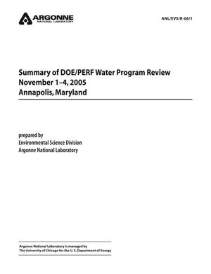 Primary view of object titled 'Summary of DOE/PERF water program review.'.