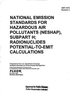 Primary view of object titled 'NATIONAL EMISSION STANDARDS FOR HAZARDOUS AIR POLLUTANTS (NESHAP) SUBPART H RADIONUCLIDES POTENTIAL TO EMIT CALCULATIONS'.
