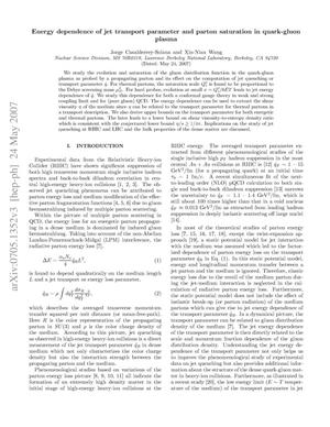 Primary view of object titled 'Energy dependence of jet transport parameter and parton saturationin quark-gluon plasma'.