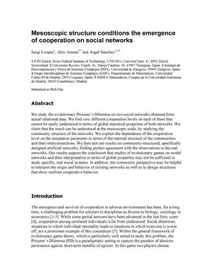 Primary view of object titled 'Mesoscopic structure conditions the emergence of cooperation on social networks'.