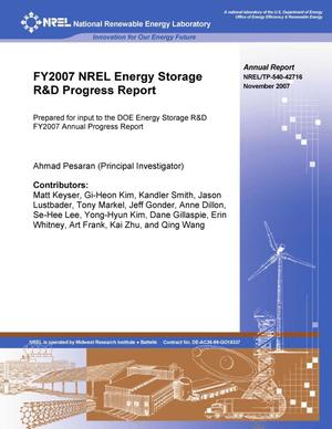 Primary view of object titled 'FY2007 NREL Energy Storage R&D Progress Report'.