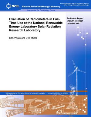 Primary view of object titled 'Evaluation of Radiometers in Full-Time Use at the National Renewable Energy Laboratory Solar Radiation Research Laboratory'.