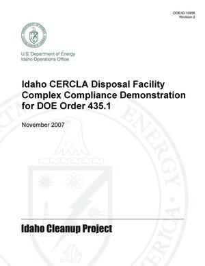 Primary view of object titled 'Idaho CERCLA Disposal Facility Complex Compliance Demonstration for DOE Order 435.1'.