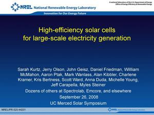 Primary view of object titled 'High-Efficiency Solar Cells for Large-Scale Electricity Generation'.