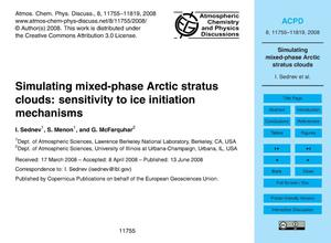 Primary view of object titled 'Simulating mixed-phase Arctic stratus clouds: sensitivity to ice initiation mechanisms'.