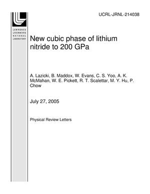 Primary view of object titled 'New cubic phase of lithium nitride to 200 GPa'.