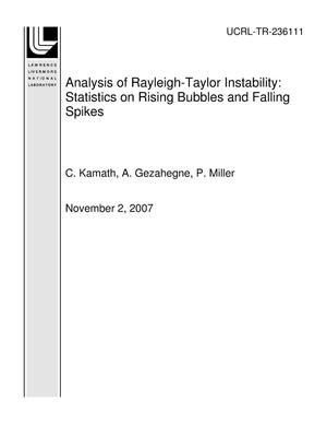 Primary view of object titled 'Analysis of Rayleigh-Taylor Instability: Statistics on Rising Bubbles and Falling Spikes'.