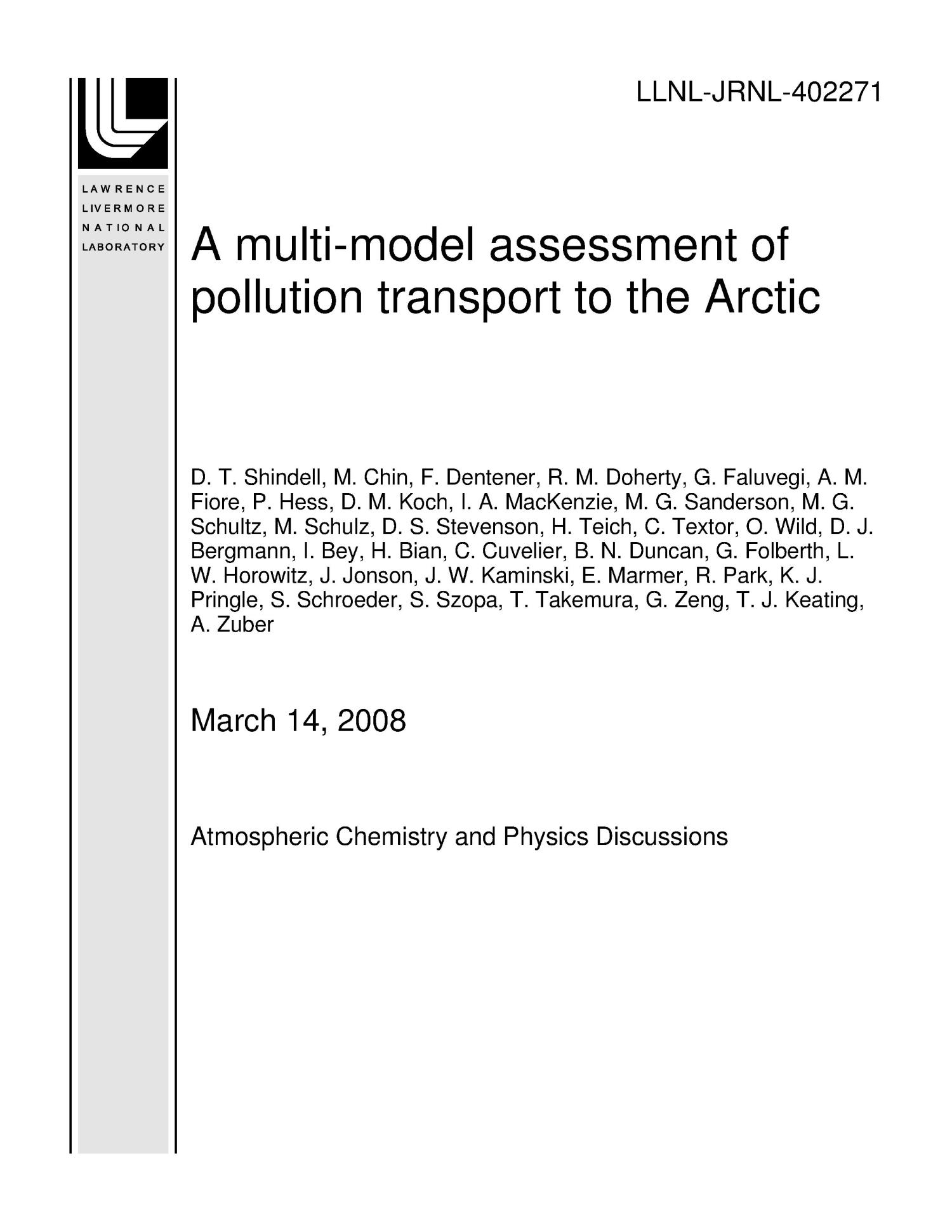 A multi-model assessment of pollution transport to the Arctic                                                                                                      [Sequence #]: 1 of 54