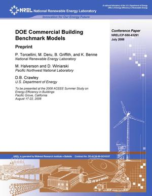 Primary view of object titled 'DOE Commercial Building Benchmark Models: Preprint'.