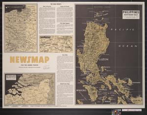 Primary view of object titled 'Newsmap. For the Armed Forces. 270th week of the war, 152nd week of U.S. participation'.