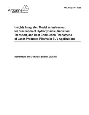 Primary view of object titled 'Heights integrated model as instrument for simulation of hydrodynamic, radiation transport, and heat conduction phenomena of laser-produced plasma in EUV applications.'.