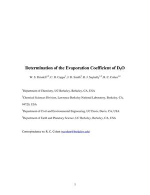 Primary view of object titled 'Determination of the Evaporation Coefficient of D2O'.