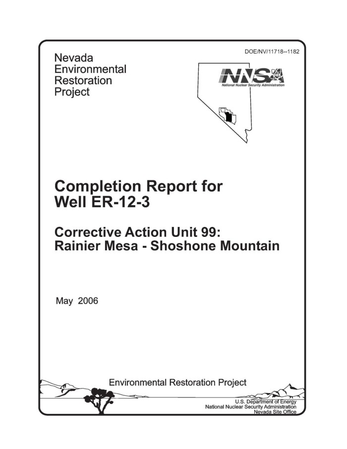 Completion Report For Well Er-12-3 Corrective Action Unit 99