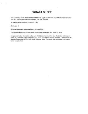 Primary view of object titled 'Errata Sheet for the Closure Report (DOE/NV--1246) for Corrective Action Unit 543: Liquid Disposal Units, Nevada'.
