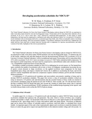 Primary view of object titled 'Developing acceleration schedules for NDCX-II'.