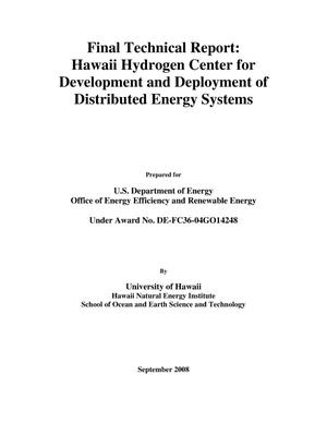Primary view of object titled 'Final Technical Report: Hawaii Hydrogen Center for Development and Deployment of Distributed Energy Systems'.