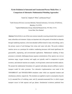 Primary view of object titled 'Pyrite oxidation in saturated and Unsaturated Porous Media Flow: AComparison of alternative mathematical modeling approaches'.