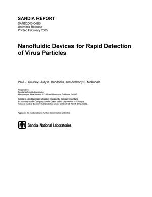 Primary view of object titled 'Nanofluidic devices for rapid detection of virus particles.'.