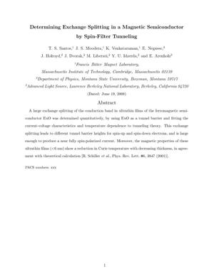 Primary view of object titled 'Determining Exchange Splitting in a Magnetic Semiconductor by Spin-Filter Tunneling'.