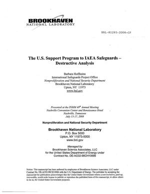 Primary view of object titled 'The U.S. Support Program to IAEA Safeguards - Destructive Analysis'.