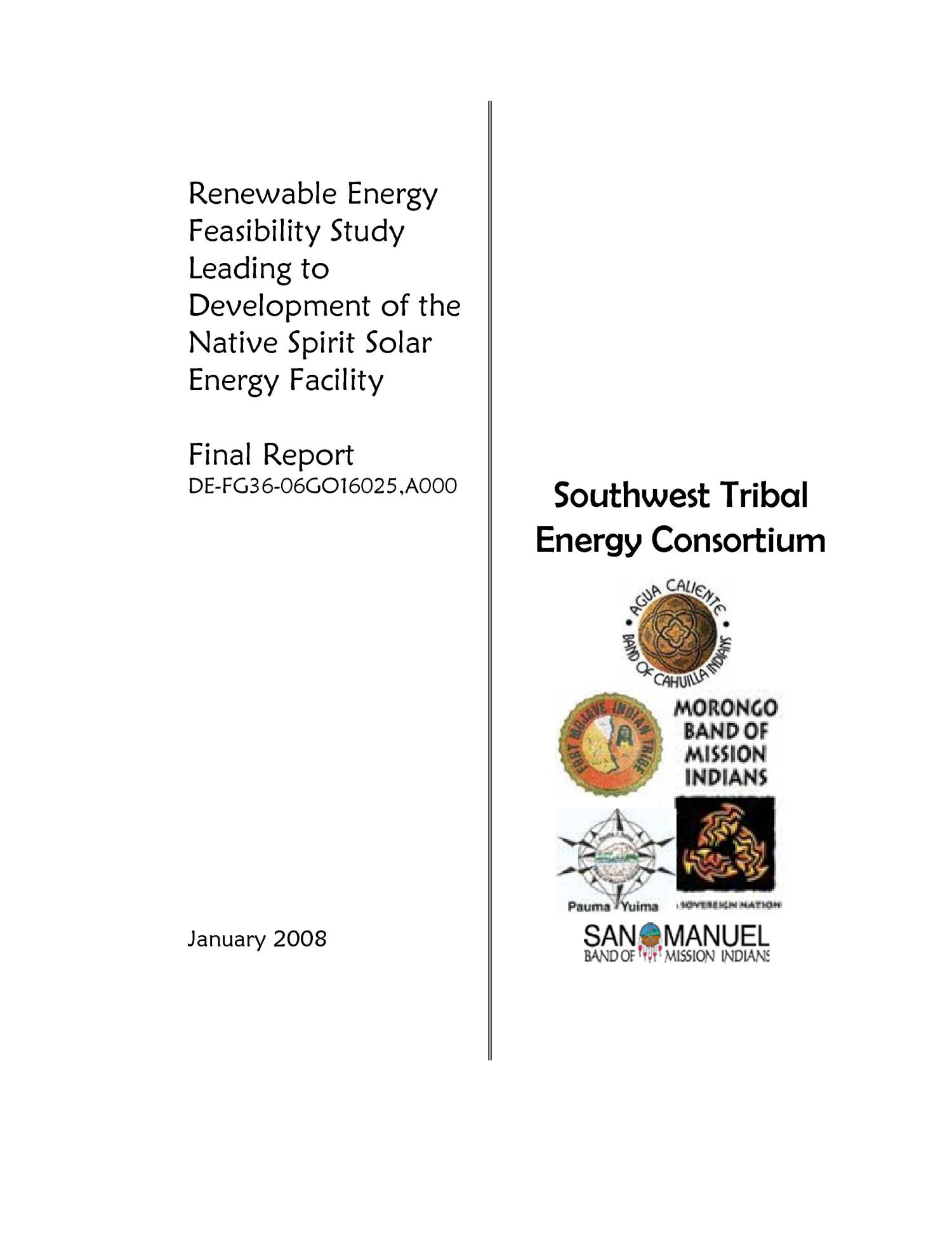Renewable Energy Feasibility Study Leading to Development of the Native Spirit Solar Energy Facility                                                                                                      [Sequence #]: 1 of 24