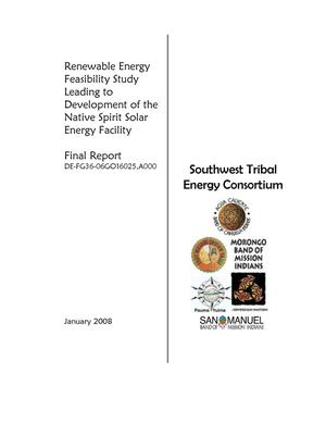 Primary view of object titled 'Renewable Energy Feasibility Study Leading to Development of the Native Spirit Solar Energy Facility'.